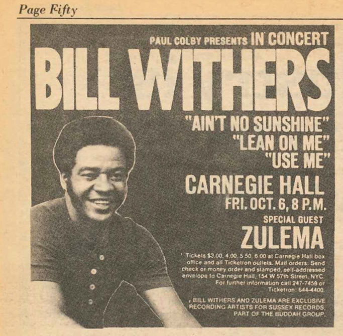 Bill Withers Carnegie Hall
