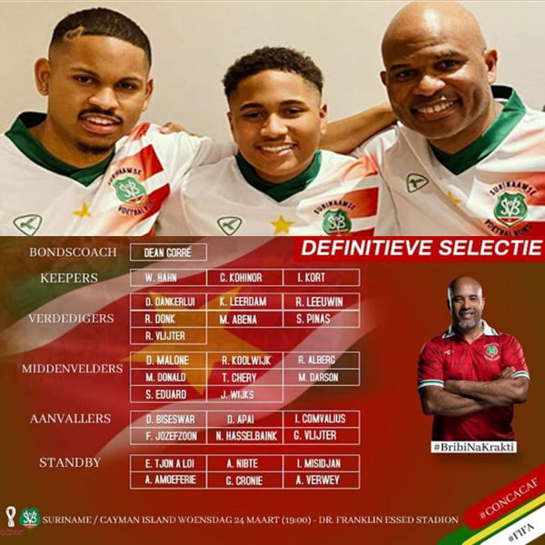 Surinaams voetbal elftal maart 21